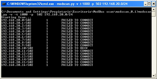 Discovering the Modbus slaves' IPs with Modscan