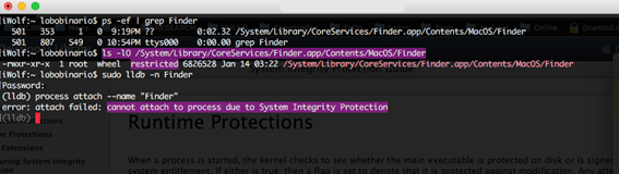 SIP protection prevents the Finder process from being attached to a debugger
